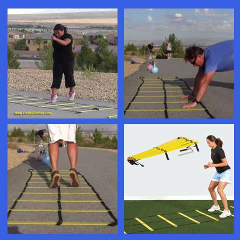 Agility ladder with double row of rungs..