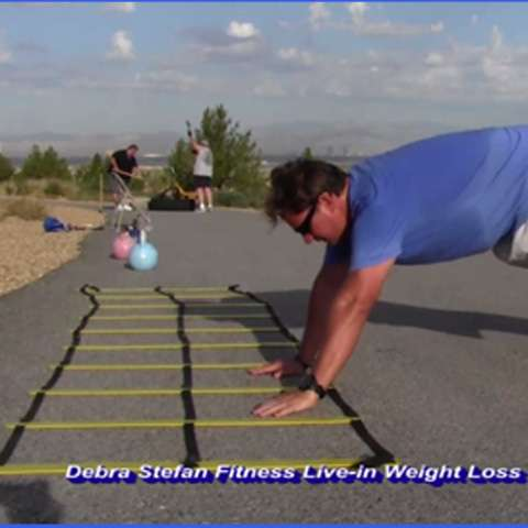 Agility ladder with double row of rungs.