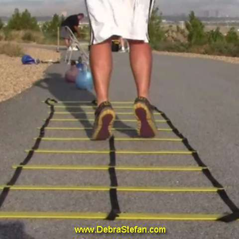 Agility ladder with double row of rungs for foot speed.