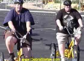 Morbidly Obese Men Cycling for Weight Loss on Trikes at Biking Retreat