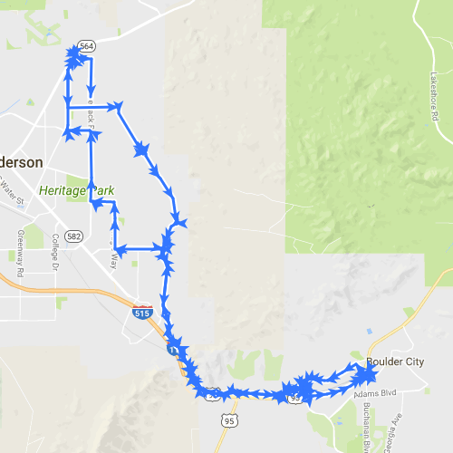 RMLT-LAKE MEAD PKWY TO BOULDER CITY STARBUCKS ROUND TRIP