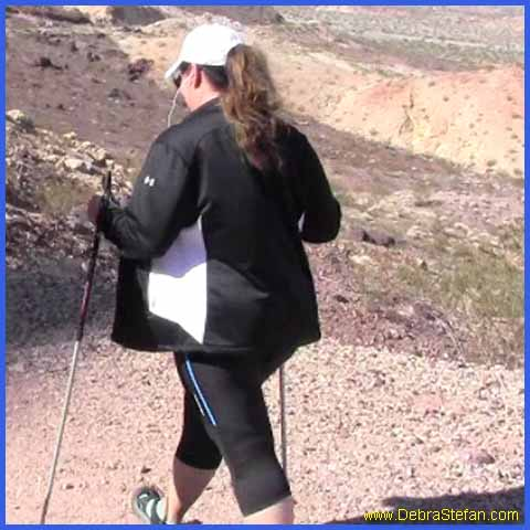 Trekking Poles-senior woman weight loss training