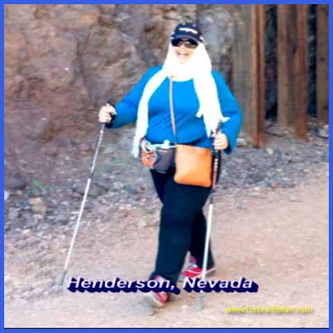 Trekking Poles - Saudi woman hiking for weight loss.