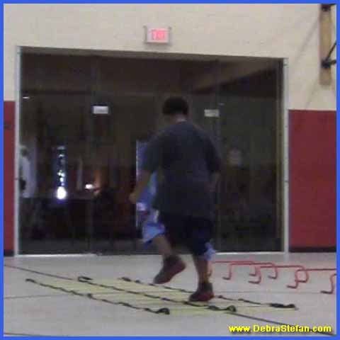 Agility ladder with double row of rungs for foot speed variations, balance and conditioning.