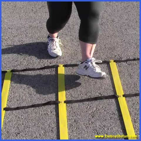 Senior woman training on the Double Agility ladder weight loss.