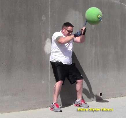 Converta-Ball Chops Performed by Man at Weight Loss Camp