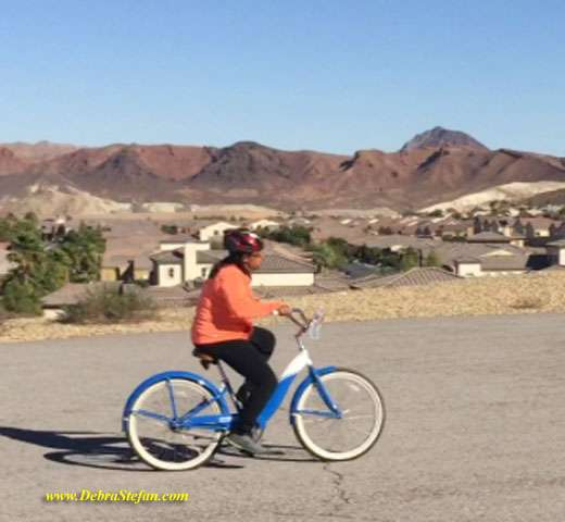 Weight loss retreat client learns to ride a bike